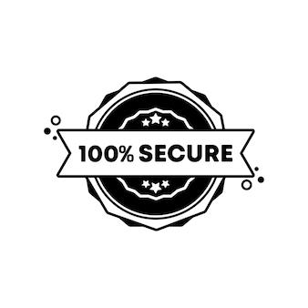 Timbre sécurisé à 100 pour cent. vecteur. icône de badge sécurisé à 100 pour cent. logo de badge certifié. modèle de timbre. étiquette, autocollant, icônes. vecteur eps 10. isolé sur fond blanc.