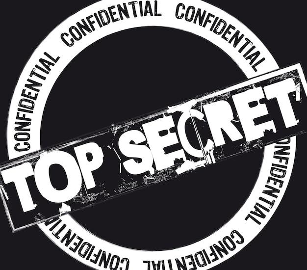 Timbre top secret sur l'illustration vectorielle fond noir