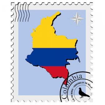 Timbre de vecteur avec les cartes de l'image de la colombie