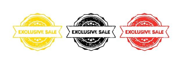 Timbre de vente exclusif. vecteur. icône d'insigne de vente exclusive. logo de badge certifié. modèle de timbre. étiquette, autocollant, icônes. vecteur eps 10. isolé sur fond blanc.