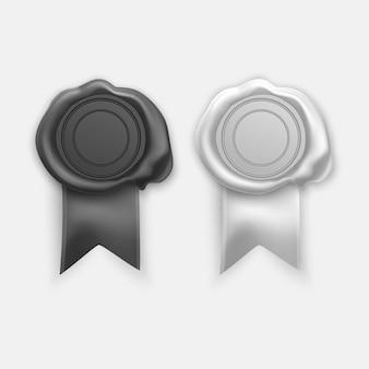 Timbres de cire de cachet rétro et anciens de couleurs noir et blanc. ensemble de timbres isolés
