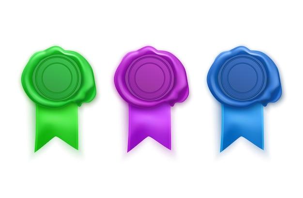 Timbres de cire de sceau rétro et anciens de couleurs vertes, violettes et bleues. ensemble de timbres isolés