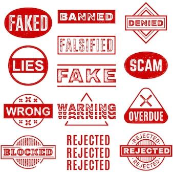 Timbres De Couleur Rouge Avec Diverses Inscriptions, Y Compris Fake Scam Wrong Rejeté En Retard Vecteur Premium
