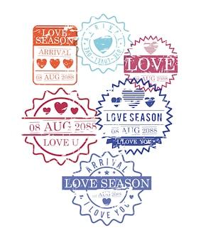Timbres ensemble de la saison de l'amour en silhouette colorée