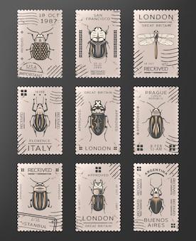 Timbres d'insectes colorés vintage sertis de libellule différents types d'insectes et de coléoptères isolés