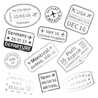 Timbres noirs de visa de voyage international