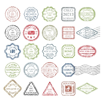 Timbres postaux grungy colorés dans différentes formes de 24 villes du monde