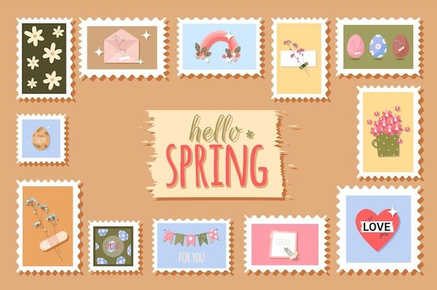 Timbres-poste de printemps avec des fleurs et des éléments mignons