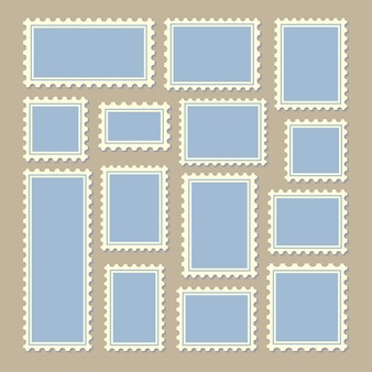 Timbres-poste de taille différente en bleu et blanc