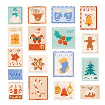 Timbres-poste vectoriels de vacances de noël, éléments de conception de carte postale, poste aux lettres d'hiver, père noël, flocons de neige, arbre de noël, collection d'étiquettes de fête, ensemble d'impression de scrapbooking doodle décoration bonhomme de neige, carte de nouvel an