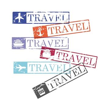 Timbres rectangulaires de voyage de bateau et d'avion et de téléphérique