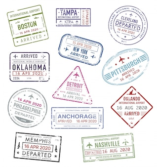 Timbres des usa, visa de voyage passeport aéroport américain