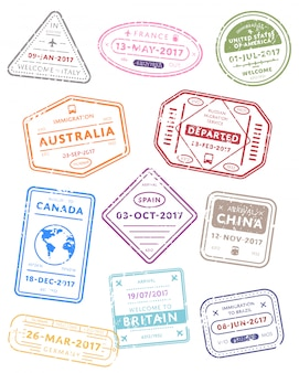 Timbres de visa de voyage international.