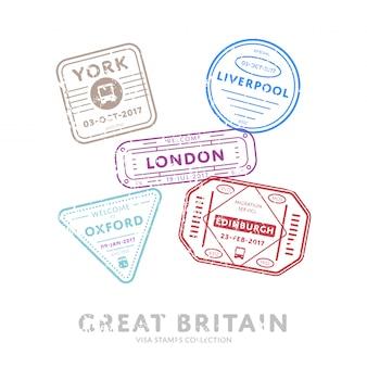 Timbres de visa de voyage international.