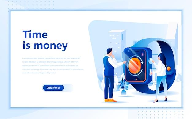 Time is money, modèle de page de destination plate de la page d'accueil