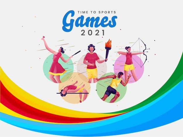 Time to sport games 2021 avec des athlètes de dessins animés dans différentes poses