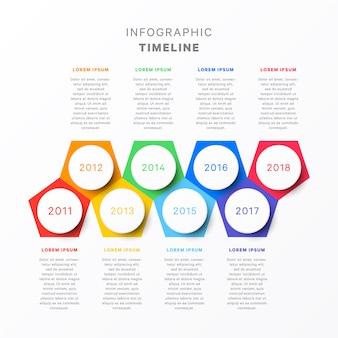 Timeline horizontale avec huit éléments pentagonaux, indication d'année circulaire et zones de texte. diagramme de processus simple