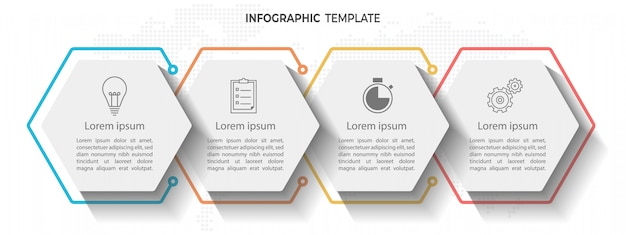 Timeline infographic 4 options d'hexagone.
