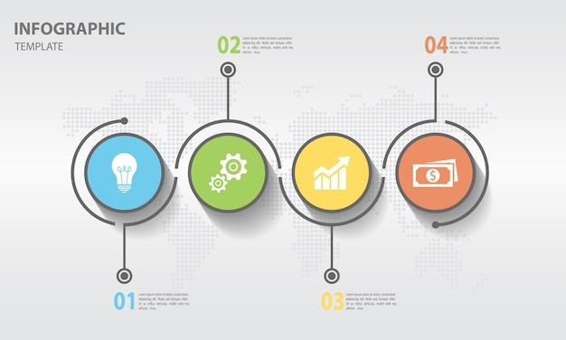 Timeline infographic avec cercle 4 options