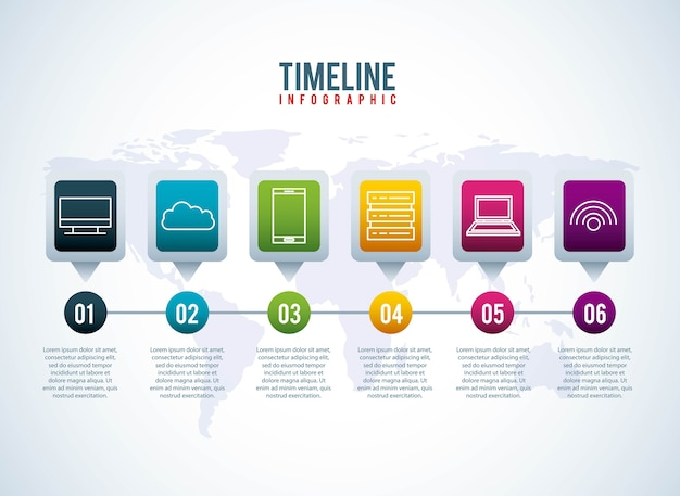 Timeline infographie monde conection stockage système information tecgnology