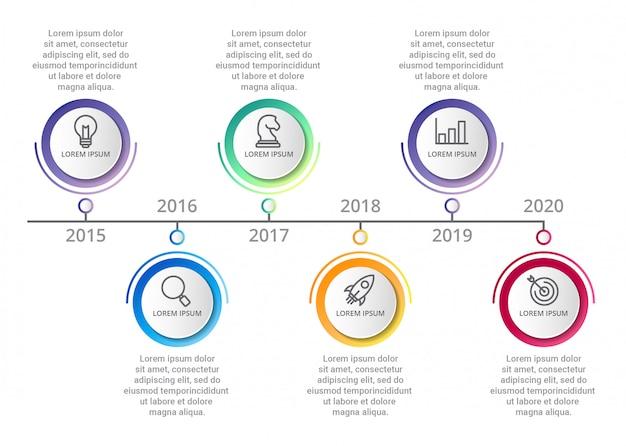 Timeline modèle infographique avec des icônes des options ou des étapes