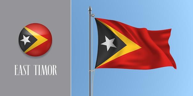 Timor oriental agitant le drapeau sur le mât et l'illustration vectorielle de l'icône ronde. maquette 3d réaliste avec la conception du bouton drapeau et cercle