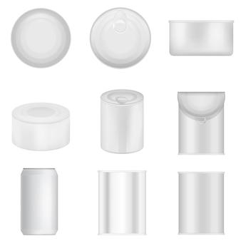 Tin can jalopy épicerie alimentaire ensemble de maquette. illustration réaliste de 9 emballages alimentaires en boîte de conserve pour le web