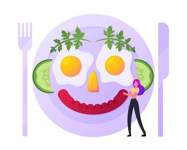 Tiny girl cook food, illustration de petit-déjeuner amusant
