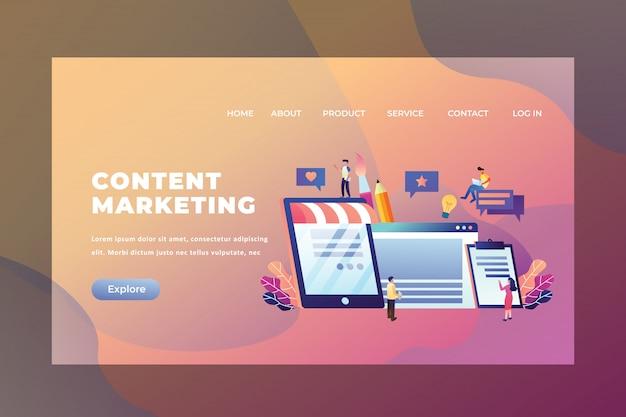Tiny people concept travailler ensemble et créer du contenu marketing de la page d'arrivée d'en-tête de page web