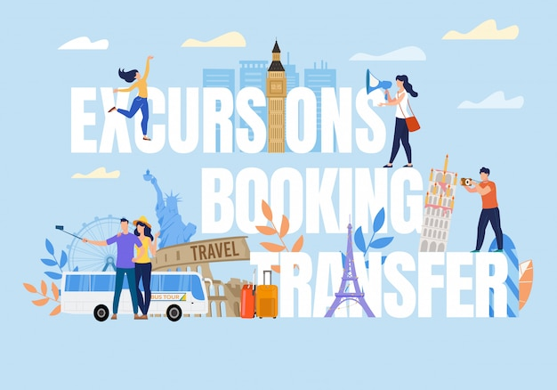 Tiny people on excursion booking transfer text