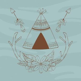 Tipi et flèches indigènes