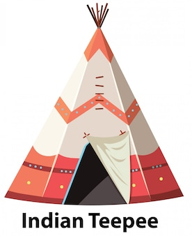 Tipi indien traditionnel sur fond blanc