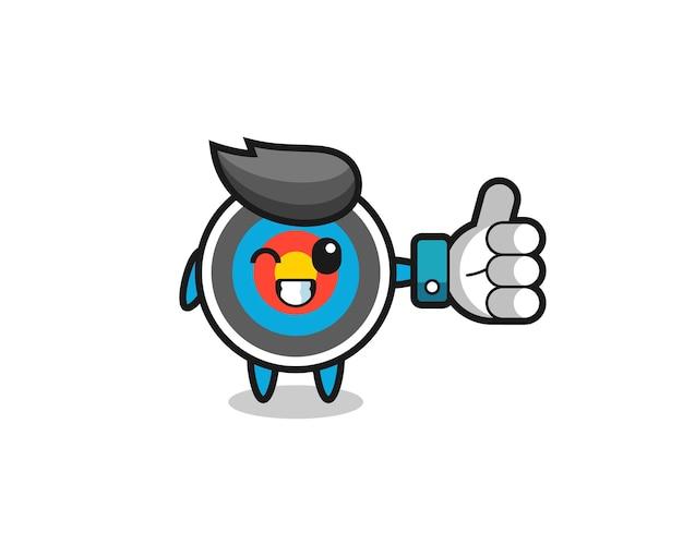 Tir à l'arc cible mignon avec symbole de pouce levé sur les médias sociaux, design de style mignon pour t-shirt, autocollant, élément de logo