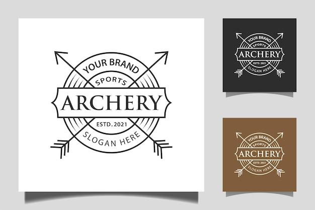 Tir à l'arc des flèches croisées avec la typographie création de logo vintage badge rustique hipster stamp