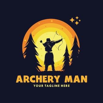 Tir à l'arc homme dans le logo de la lune