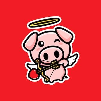 Tir à l'arc mignon cupidon cochons avec amour