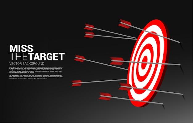 Tir à l'arc à plusieurs flèches manquant. concept d'entreprise de cible marketing et client. mission et objectif de vision d'entreprise.
