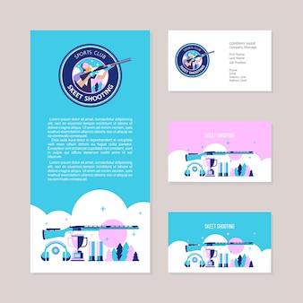 Tir au skeet. cartes de visite, flyer, ensemble d'éléments de conception.