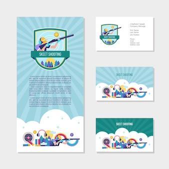 Tir au skeet. ensemble d'éléments de conception, cartes de visite, flyer.