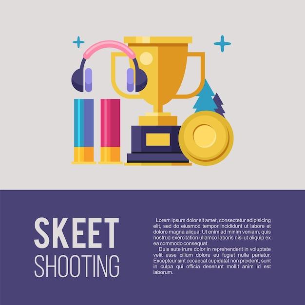 Tir au skeet. ensemble d'éléments de conception.
