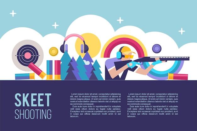 Tir au skeet. illustration vectorielle avec place pour le texte.