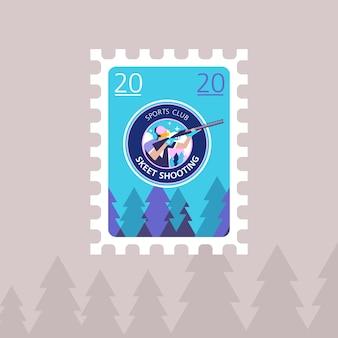 Tir au skeet. illustration vectorielle d'un timbre-poste.