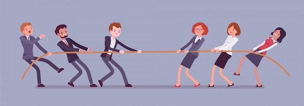 Tir à la corde, bannière hommes vs femmes