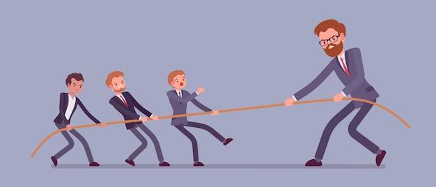 Tir à la corde, hommes vs bannière géante