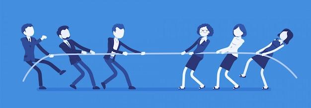 Tir à la corde, hommes vs femmes