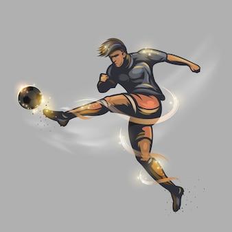 Tir de puissance de joueur de football
