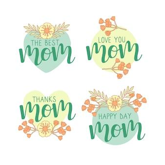 Tirage de la collection d'étiquettes de la fête des mères