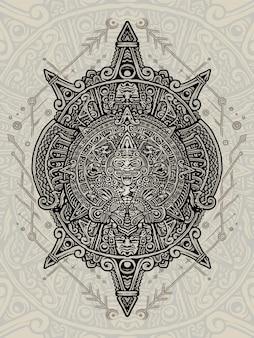 Tirage à la main de l'emblème aztèque