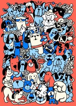 Tirage à la main, groupe de chiens de griffonnage, différentes espèces de chiens