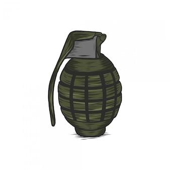 Tirage à la main vintage illustration grenade gravé